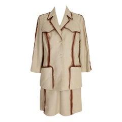 Thierry Mugler Beige Linen Skirt Suit Dress 1980s Safari Model Brown Insert