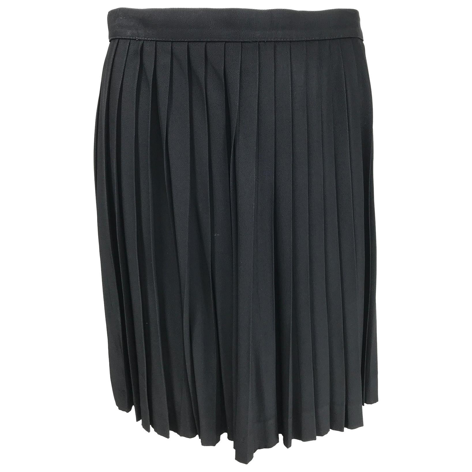 Thierry Mugler Black Crepe Side Snap Pleated Mini Skirt 1980s