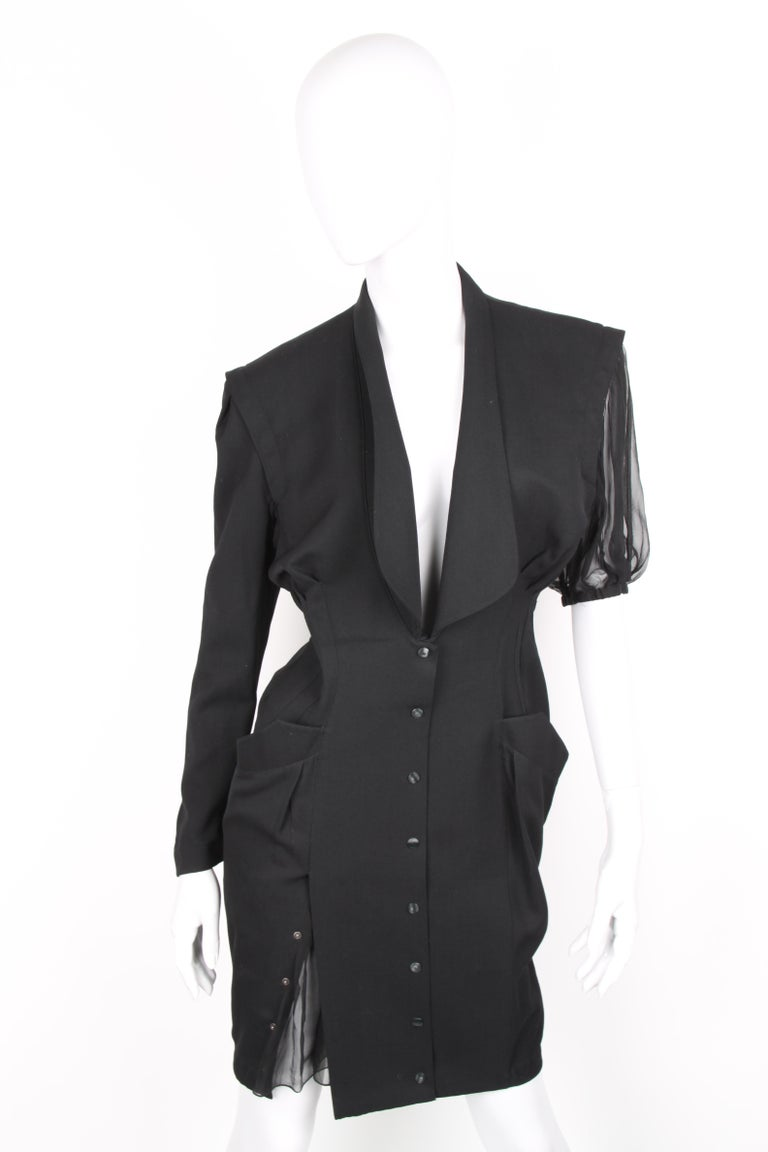 Thierry Mugler Black Knee Length Detachable Sleeves Dress In Excellent Condition For Sale In Baarn, NL