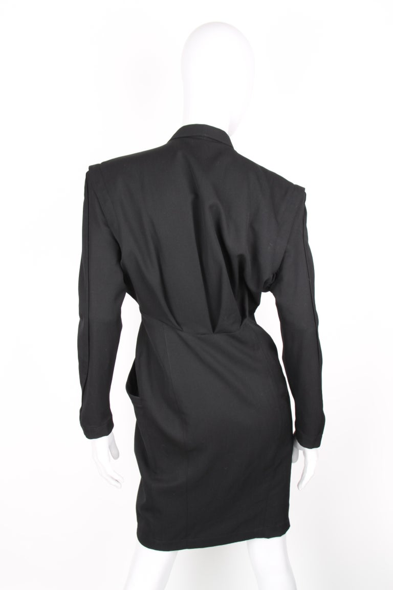 Thierry Mugler Black Knee Length Detachable Sleeves Dress For Sale 2