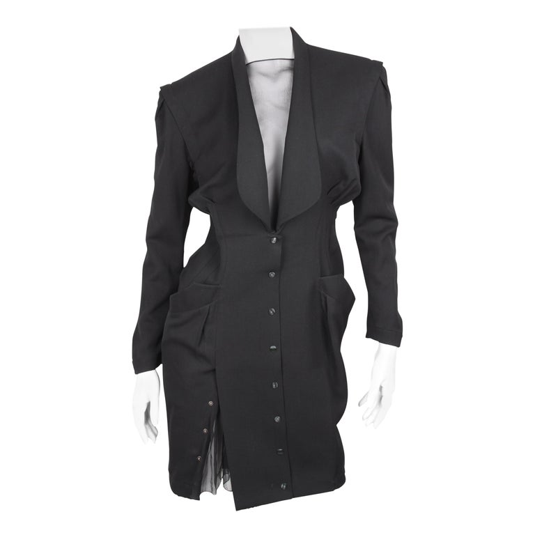 Thierry Mugler Black Knee Length Detachable Sleeves Dress For Sale