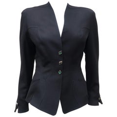 Thierry Mugler Black Linen Jacket With Sculptural Green Enamel Buttons, 1990's