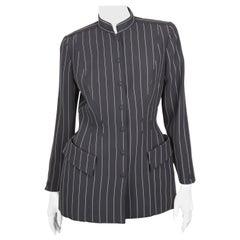 Thierry Mugler Black Pinstripe Wool Manderin Collar Blazer