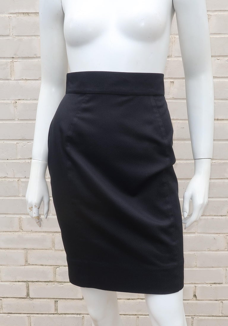Thierry Mugler Black Ribbed Cotton Skirt Suit, 1990's For Sale 6