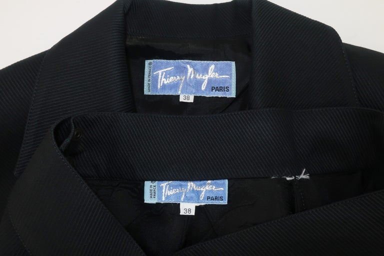 Thierry Mugler Black Ribbed Cotton Skirt Suit, 1990's For Sale 7