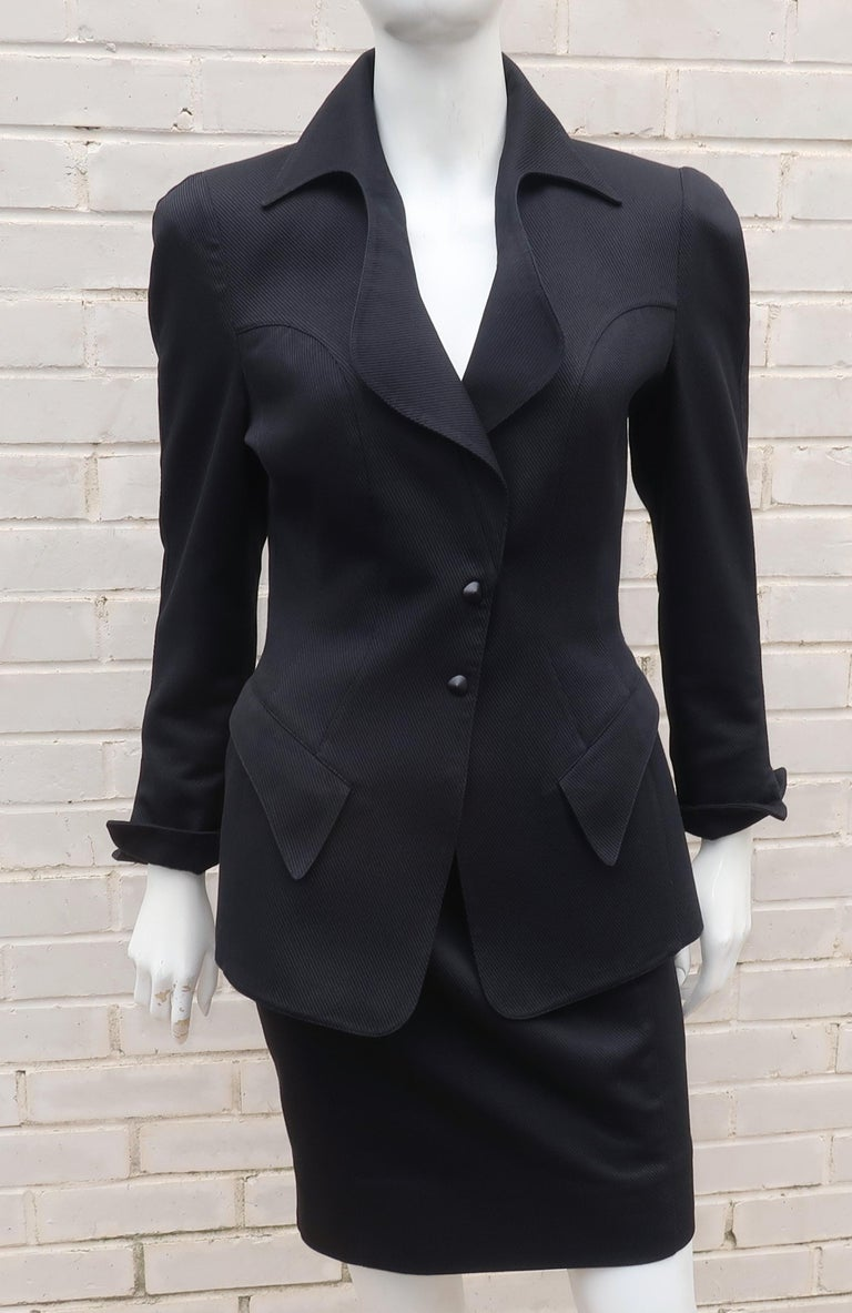 Thierry Mugler Black Ribbed Cotton Skirt Suit, 1990's In Good Condition For Sale In Atlanta, GA