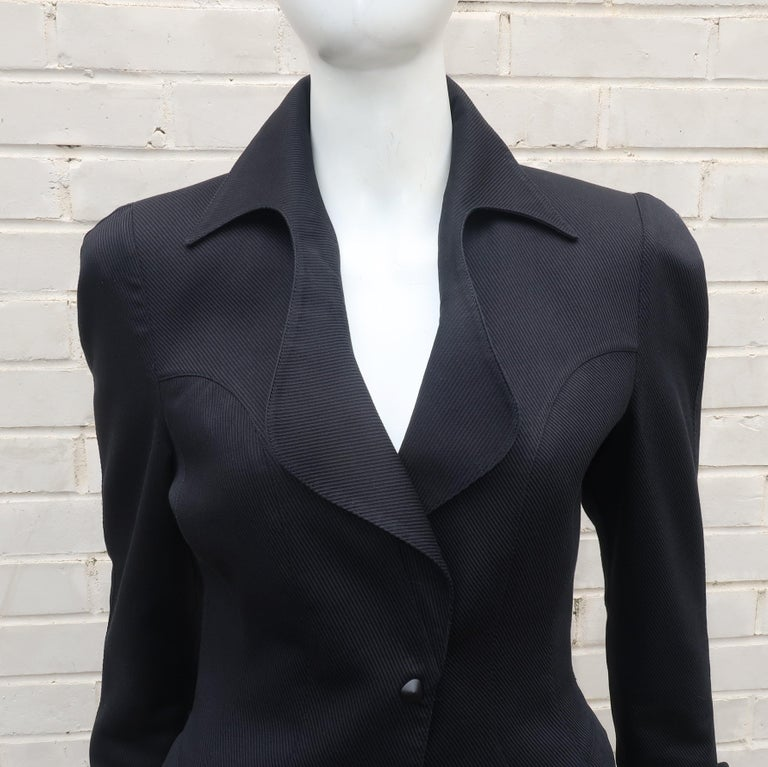 Men's Thierry Mugler Black Ribbed Cotton Skirt Suit, 1990's For Sale