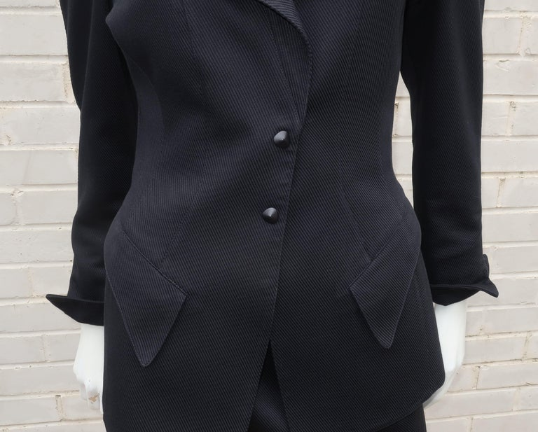 Thierry Mugler Black Ribbed Cotton Skirt Suit, 1990's For Sale 1