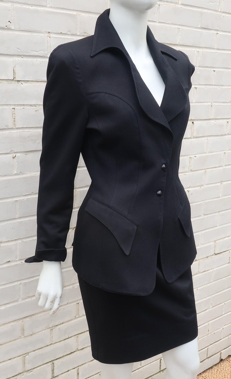 Thierry Mugler Black Ribbed Cotton Skirt Suit, 1990's For Sale 2
