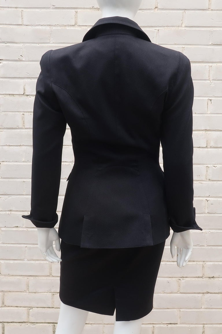 Thierry Mugler Black Ribbed Cotton Skirt Suit, 1990's For Sale 3