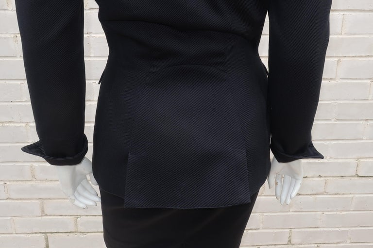 Thierry Mugler Black Ribbed Cotton Skirt Suit, 1990's For Sale 4