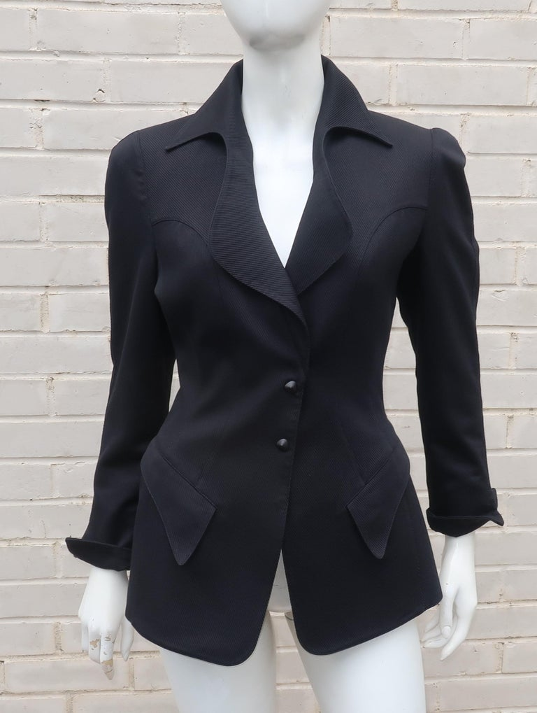 Thierry Mugler Black Ribbed Cotton Skirt Suit, 1990's For Sale 5