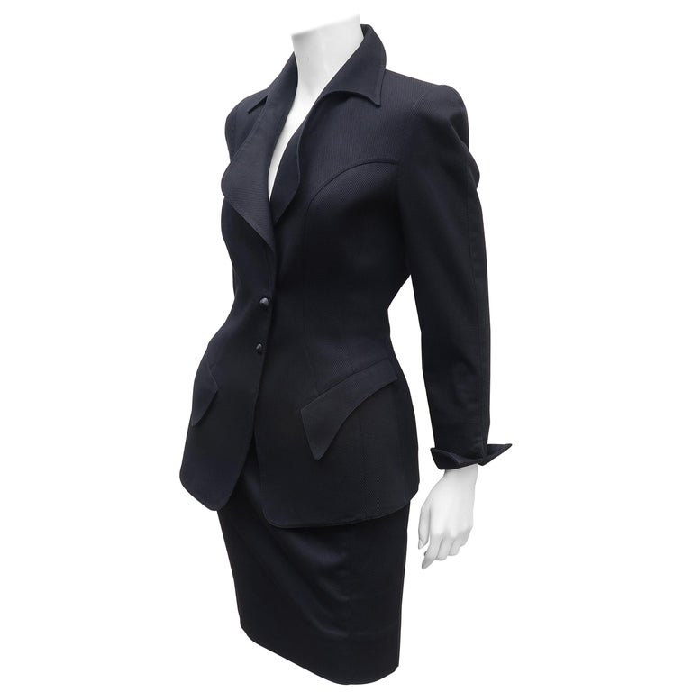 Thierry Mugler Black Ribbed Cotton Skirt Suit, 1990's For Sale