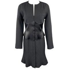 THIERRY MUGLER Black Sparkle Textured Wool Silk Corset Long Sleeve Dress