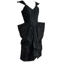 Thierry Mugler Black Taffeta Cocktail Dress Sculptural Silhouette Vintage Sz 9