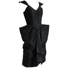 Thierry Mugler Black Taffeta Cocktail Dress Sculptural Silhouette Vintage Sz 9