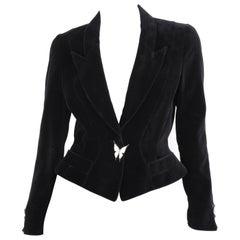 Thierry Mugler Black Velvet Rhinestone Crystal Butterfly Long Sleeve Jacket