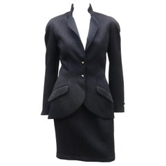 Thierry Mugler Black Waffle Skirt Suit, 1990's