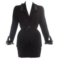 Thierry Mugler black wool and raffia mini skirt suit, ss 1995