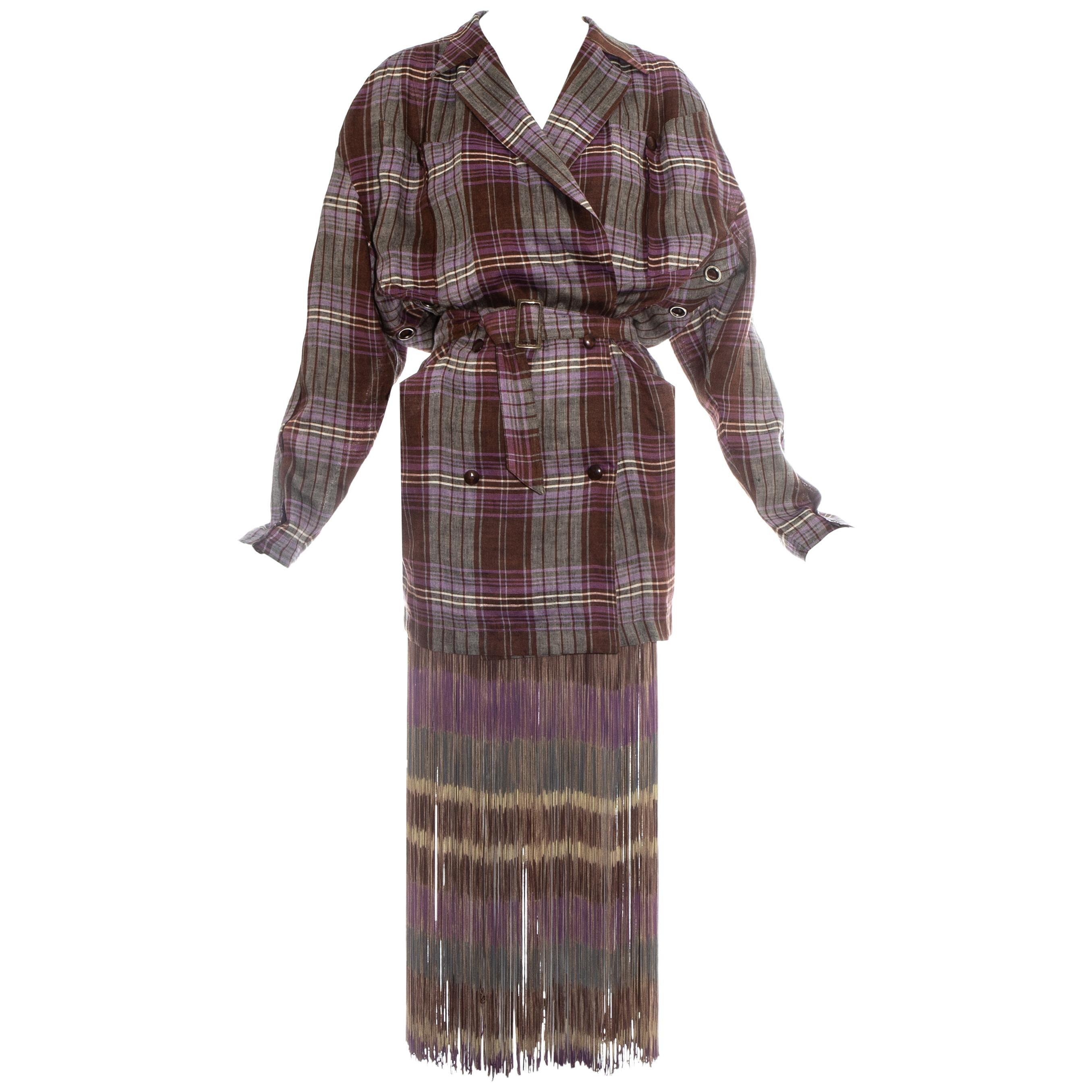 Thierry Mugler checked purple linen fringed skirt suit, ss 1985