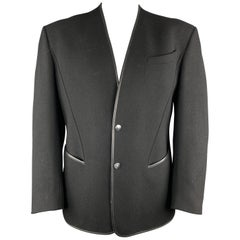 THIERRY MUGLER Chest Size 42 Black Solid Wool Blend Snaps Jacket