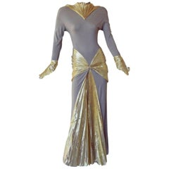 Thierry Mugler Circa 1984 Collector Gold Lame Mermaid Dress Gown