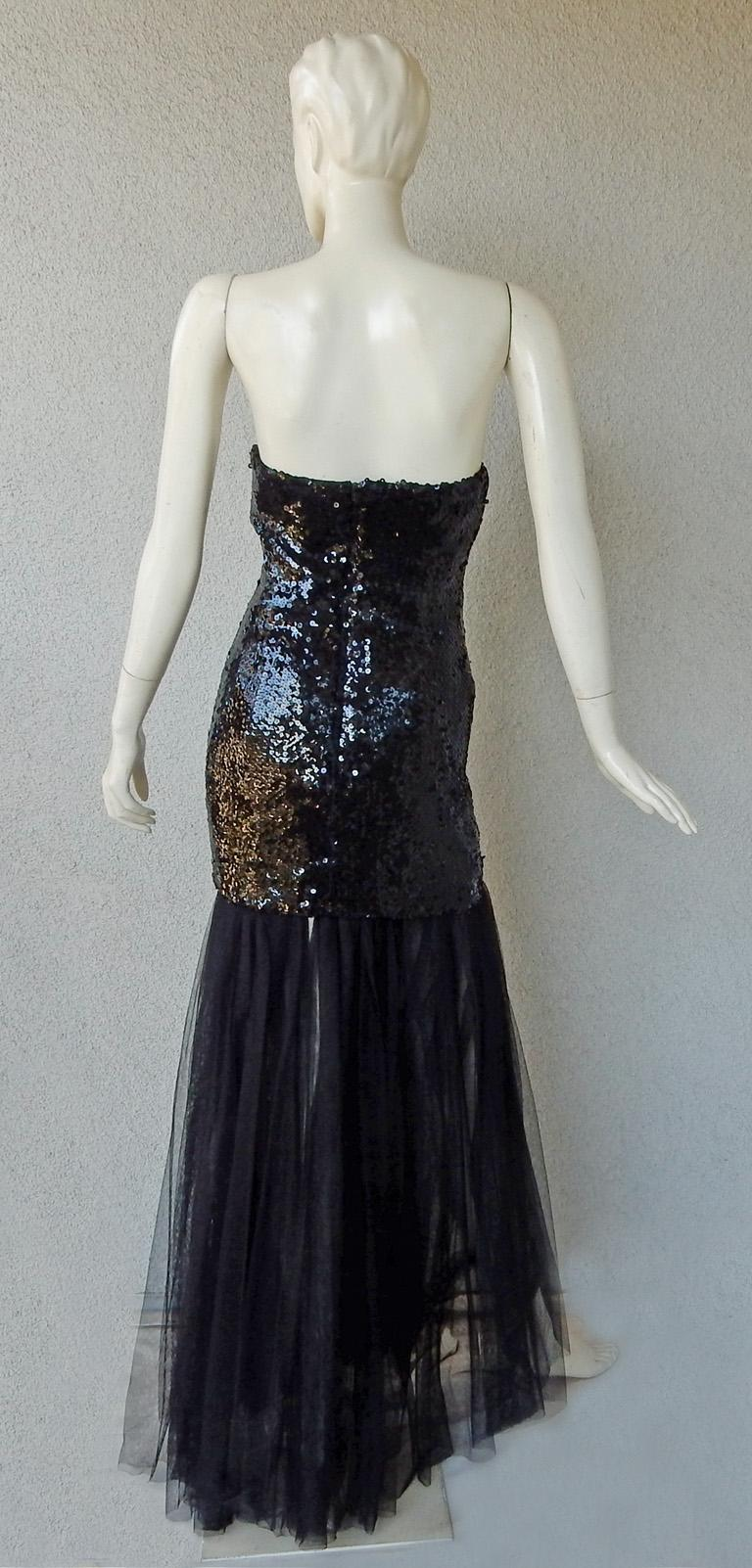 Black Thierry Mugler Couture Old Hollywood Glamour 30's Style Dress Gown For Sale