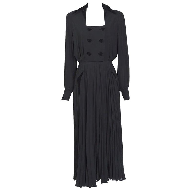 Thierry Mugler couture vintage 1980s black silk crepe and velvet details dress For Sale
