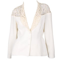 Thierry Mugler couture vintage 1990's ivory-coloured cage jacket