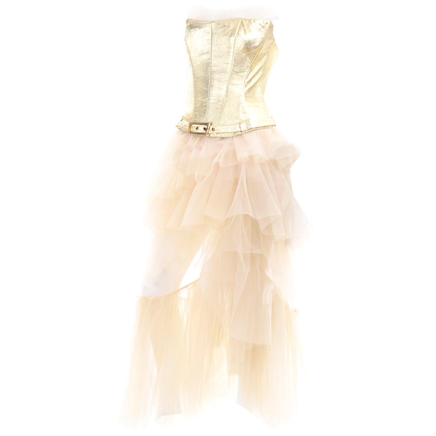 Thierry Mugler Couture Vintage Sand Tulle Skirt & Gold Leather Corset Top & Belt