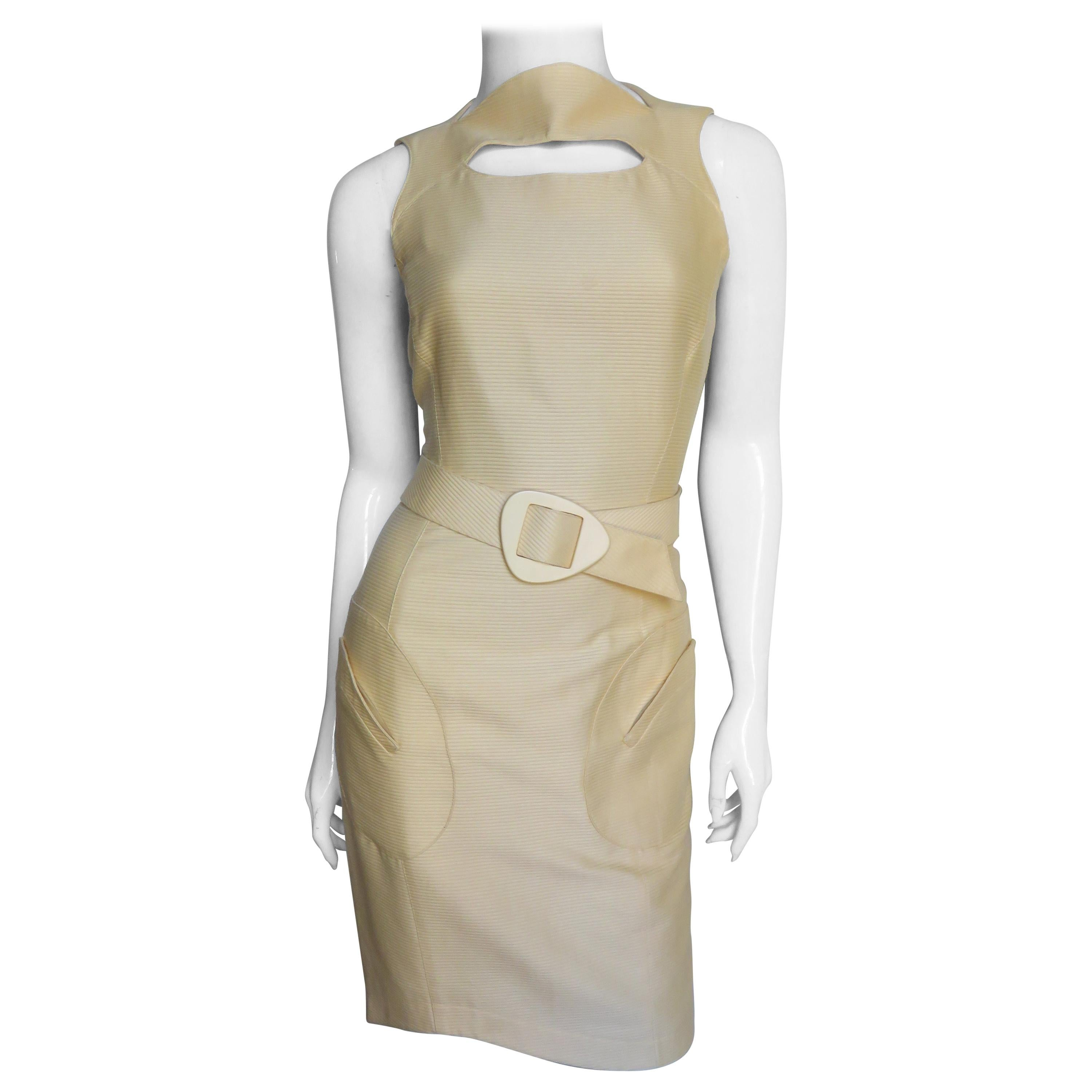 Thierry Mugler Cut out Belted Dress
