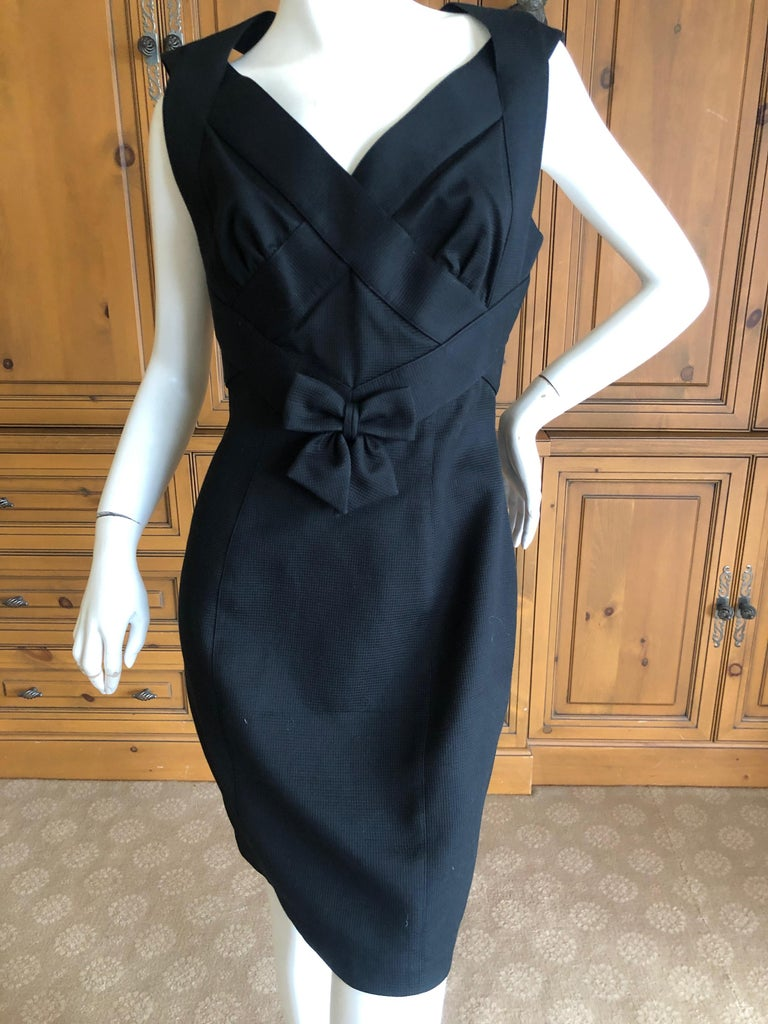 Women's Thierry Mugler Elegant Vintage 80's Bow Accented Little Black Cross Back Dress  For Sale