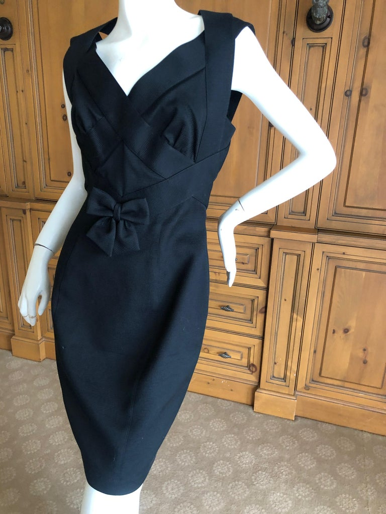 Thierry Mugler Elegant Vintage 80's Bow Accented Little Black Cross Back Dress  For Sale 1