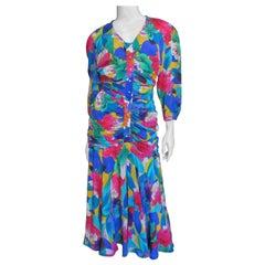 Thierry Mugler Flower Silk Ruched Dress 1980s