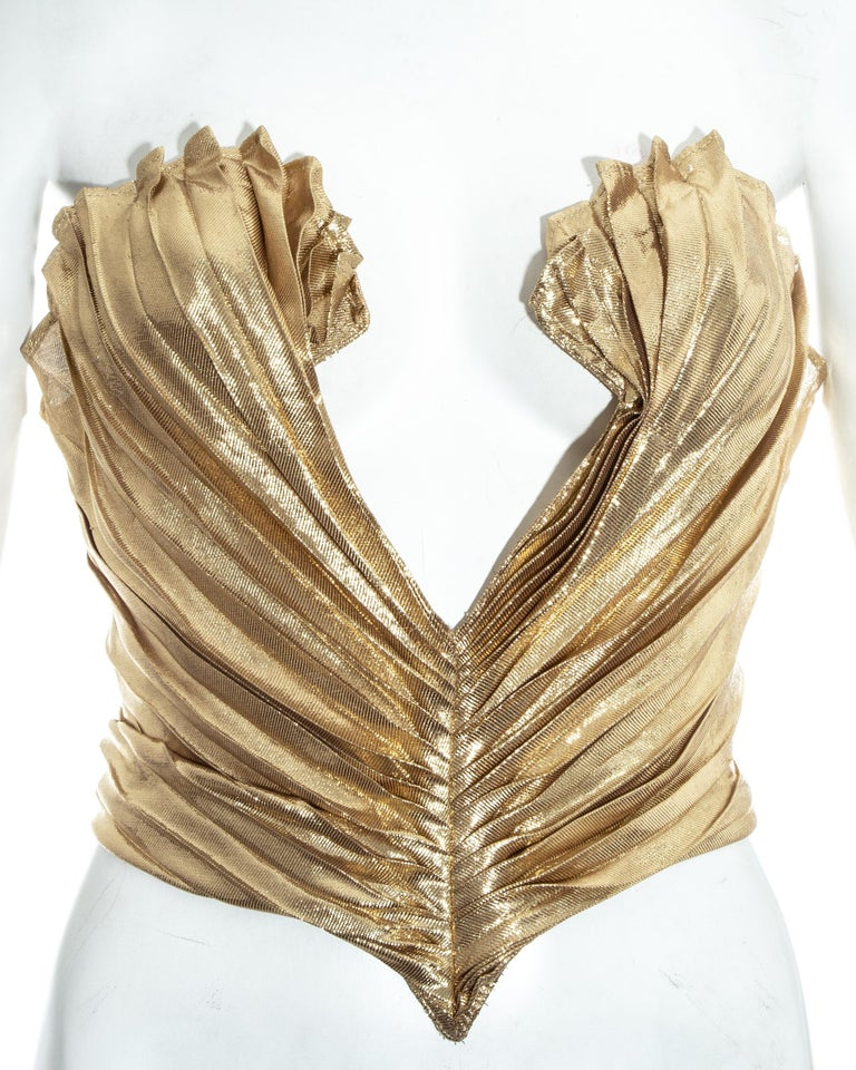 Brown Thierry Mugler gold lamé corset, fw 1978 For Sale