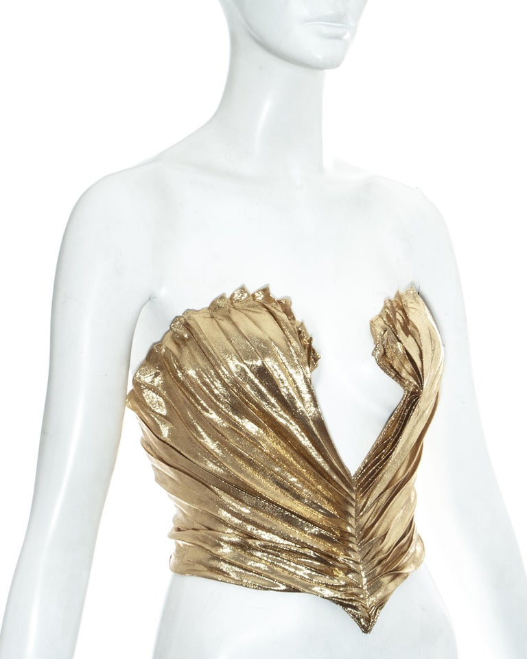 Thierry Mugler gold lamé corset, fw 1978 In Good Condition For Sale In London, GB