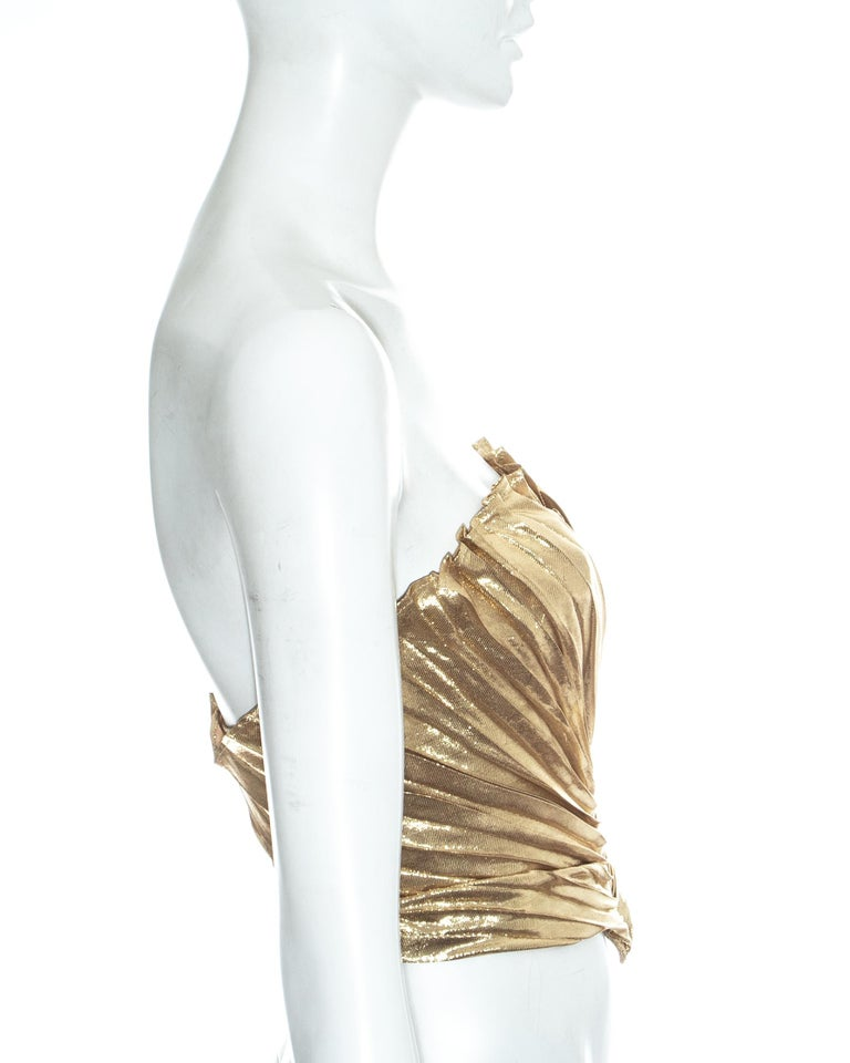 Women's Thierry Mugler gold lamé corset, fw 1978 For Sale