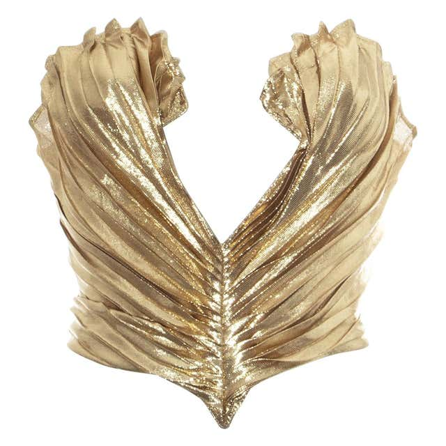 Thierry Mugler metallic silver bustier corset, fw 1978 For