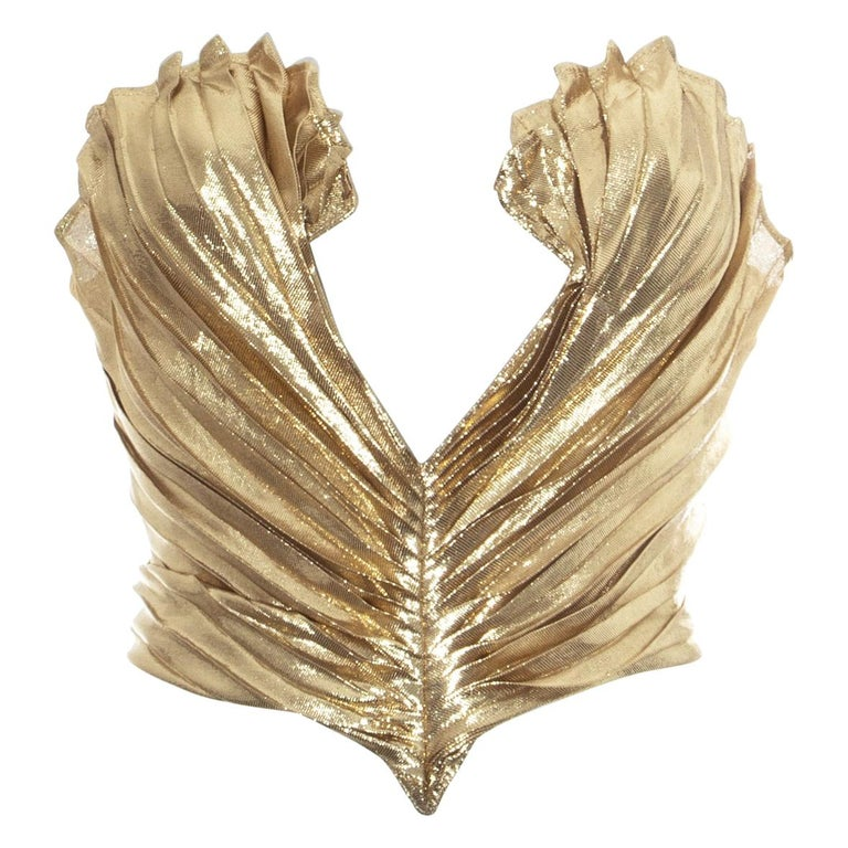 Thierry Mugler gold lamé corset, fw 1978 For Sale