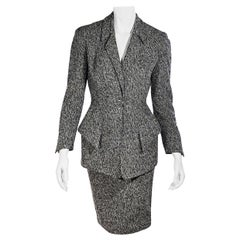 Thierry Mugler Grey Textured Skirt Suit Set