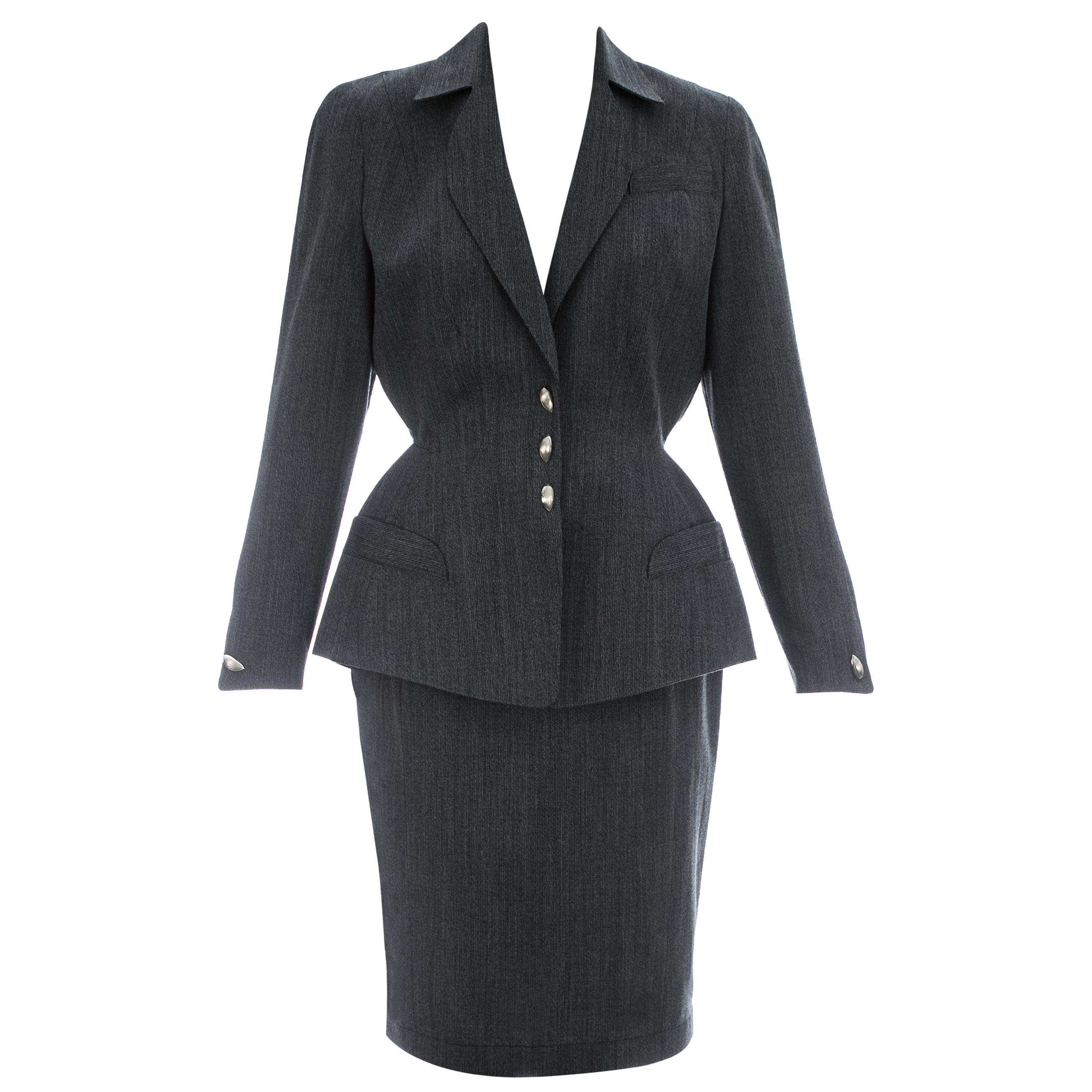 Thierry Mugler grey wool structured skirt suit, c. 1990s