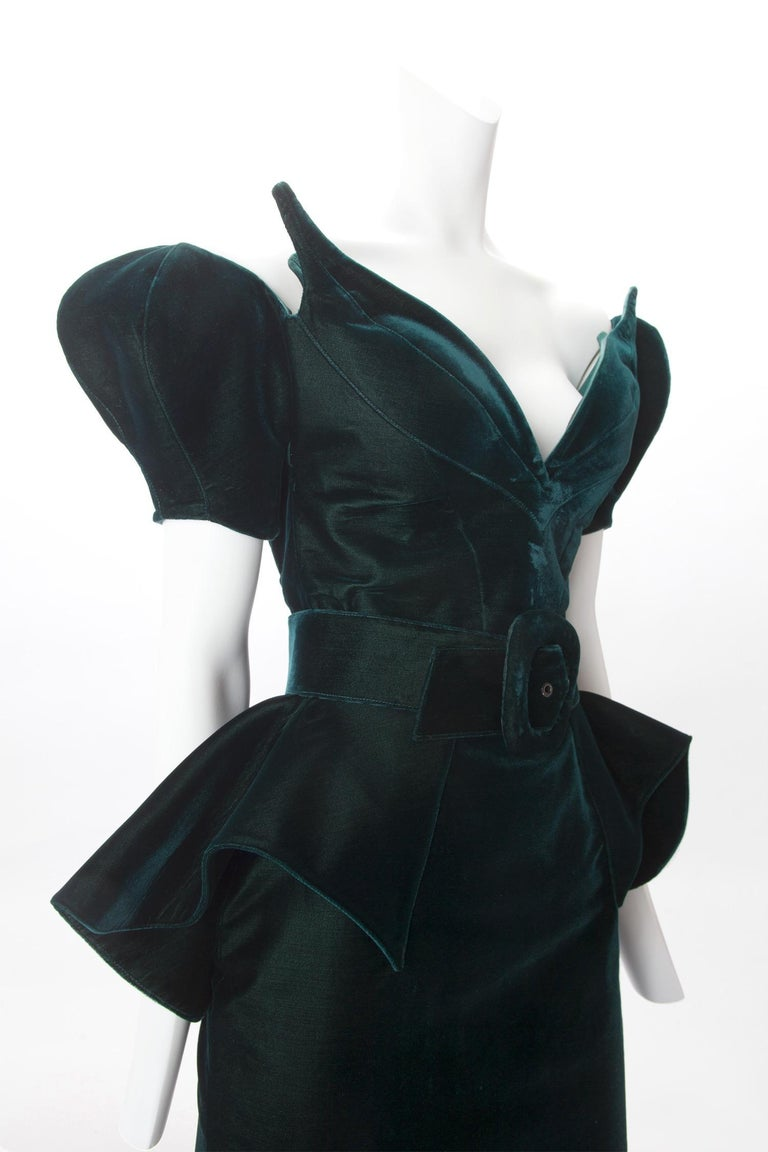 Thierry Mugler Haute Couture Green Velvet Dress with Belt,