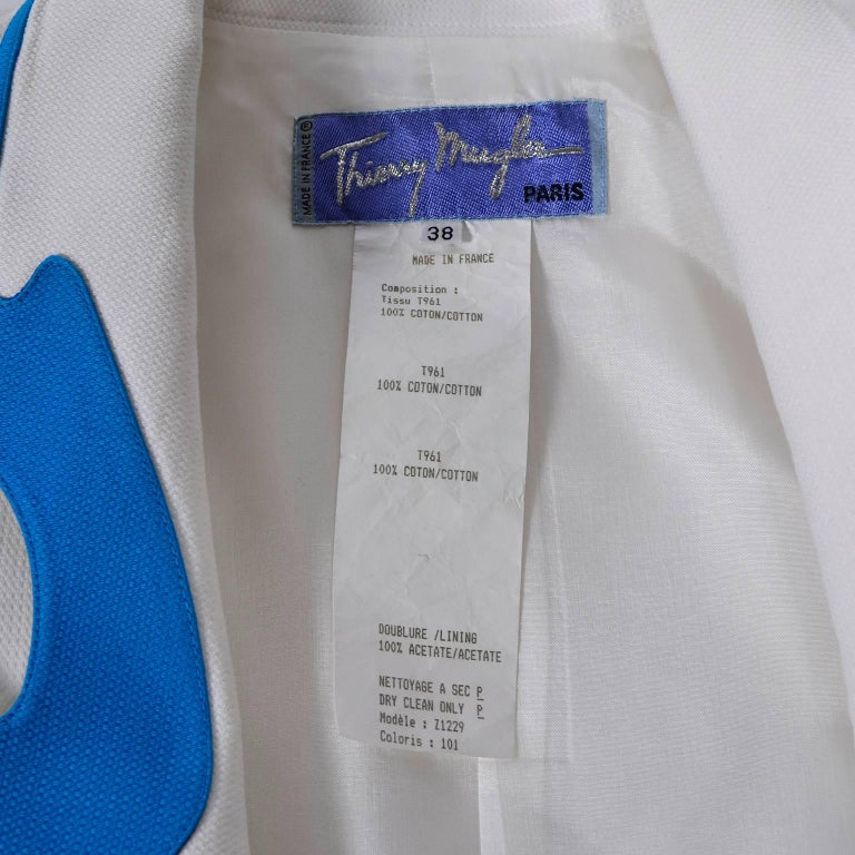 Thierry Mugler Jacket Blazer W Orange & Blue Cutouts in White Pique Heart Button For Sale 5