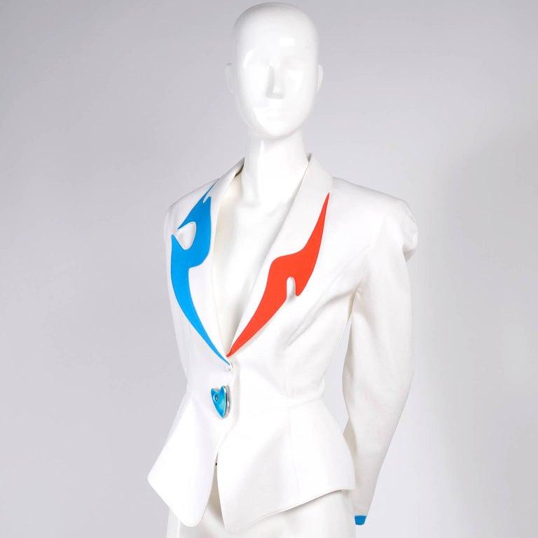 Women's Thierry Mugler Jacket Blazer W Orange & Blue Cutouts in White Pique Heart Button For Sale