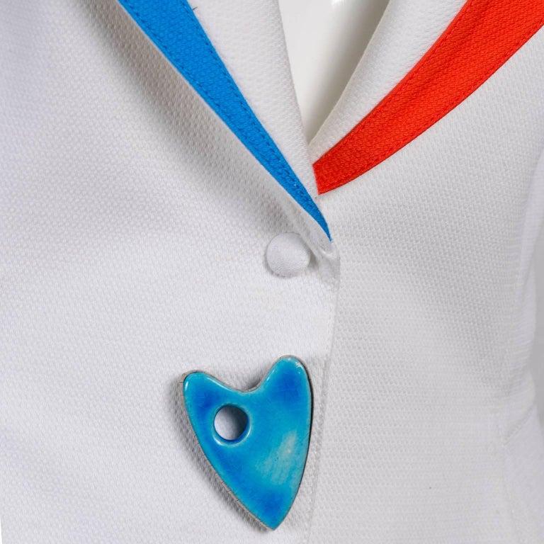 Thierry Mugler Jacket Blazer W Orange & Blue Cutouts in White Pique Heart Button For Sale 3