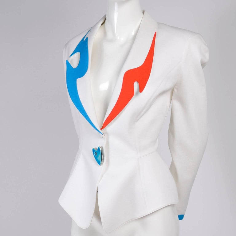 Thierry Mugler Jacket Blazer W Orange & Blue Cutouts in White Pique Heart Button For Sale 4
