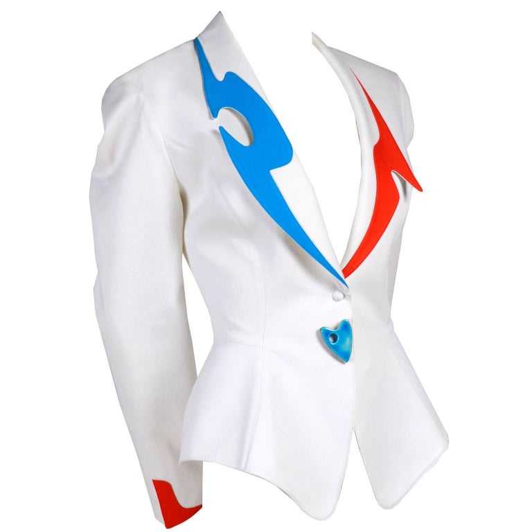 Thierry Mugler Jacket Blazer W Orange & Blue Cutouts in White Pique Heart Button