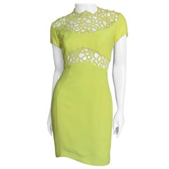 Thierry Mugler Lace Inset Silk Dress