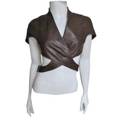 Thierry Mugler Leather Wrap Crop Top