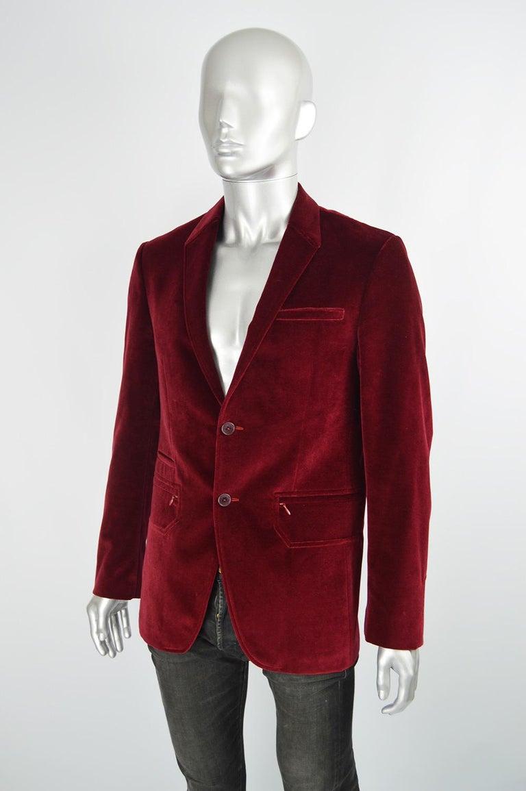 Black Thierry Mugler Men's Vintage Deep Red Velvet Blazer Dinner Jacket, 1990s For Sale
